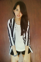 striped What A Girl Wants blazer - black American Apparel shorts