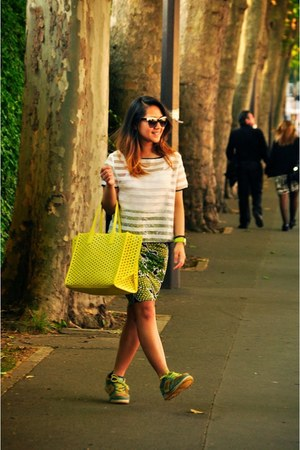 light yellow Zara bag - white cotton H&M top - chartreuse H&M skirt