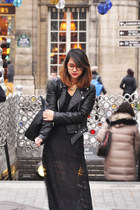 black faux leather Zara jacket - black leather longchamp bag