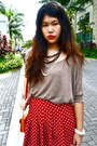 Light-brown-knit-forever-21-top-red-forever-21-skirt
