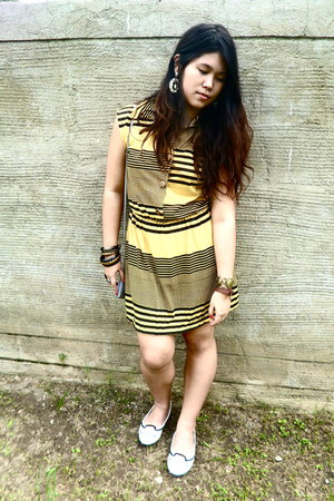 mustard thrifted dress - patent leather Charles & Keith loafers
