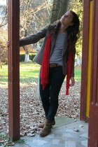 brown boots - navy jeans - brown blazer - navy shirt - red scarf - brown glasses
