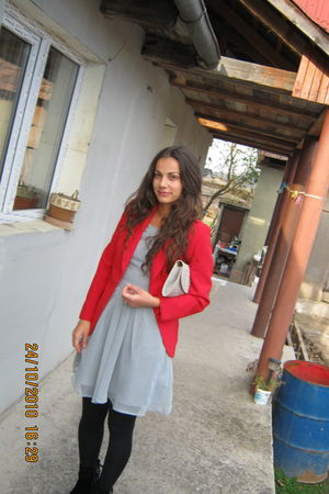 gray Atmosphere dress - black tights - black boots - red blazer