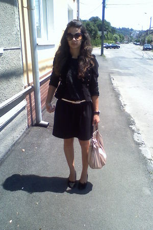 black shoes - black dress - black jacket - pink belt - pink purse - brown glasse
