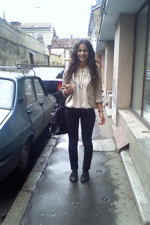 black random brand shoes - blue random brand jeans - beige Atmosphere blouse - b