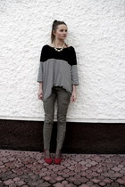 H&M pants - massimo poli heels - H&M necklace
