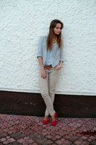 massimo poli shoes - vintage belt - vintage blouse - reserved pants - H&M neckla