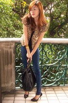 Mango jeans - cheetah print Forever 21 blazer - Zara top - Report Signature heel