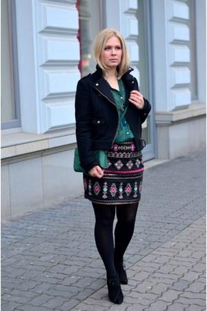 hot pink Promod skirt - black H&M jacket - Zara wedges