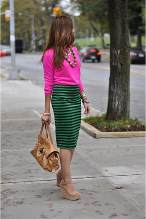 teal Forever New skirt - hot pink Forever New sweater - neutral Bebe sandals