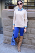 blue Forever 21 leggings - tan Forever 21 sweater - blue Mango bag