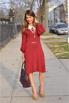 maroon TJ Maxx dress - crimson H&M bag - neutral Bebe heels