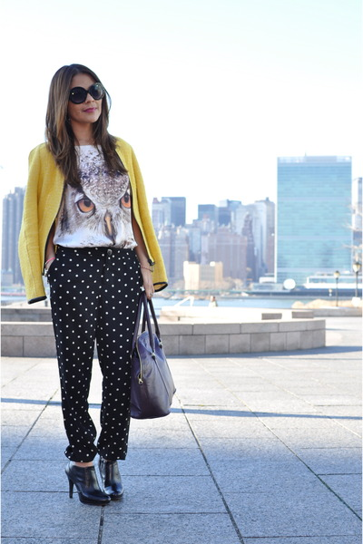 white Forever 21 t-shirt - yellow Zara blazer - black Forever 21 pants