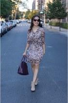 brick red unknown dress - camel Zara boots - brick red H&M bag