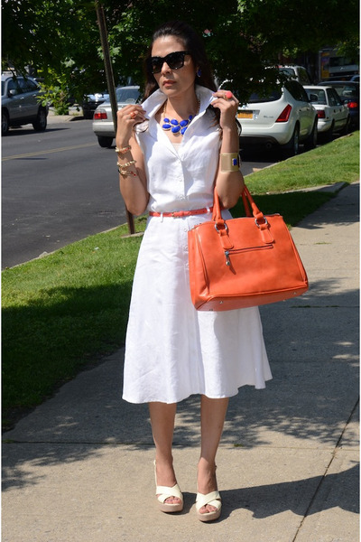 coral unkown bag - ivory BCBGeneration shoes - white H&M dress