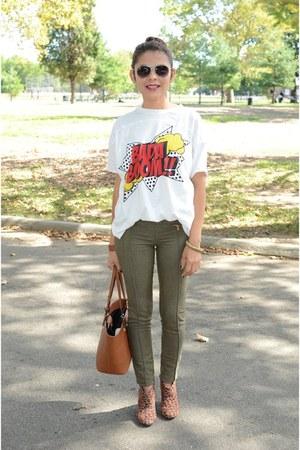 army green Bershka pants - white Zara t-shirt
