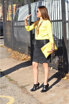 black Forever21 skirt - yellow Forever 21 sweater - yellow American Apparel bag