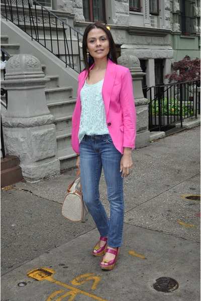 Hot Pink H&m Blazer Blue