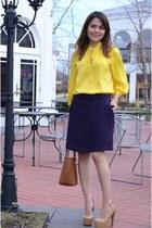 camel calvin klein bag - yellow Forever 21 blouse - nude Bebe heels
