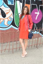 red Gap dress - navy Forever 21 bag - nude unknown brand heels