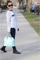 black Enzo Angolini boots - navy unkown leggings - aquamarine Ivanka Trump bag