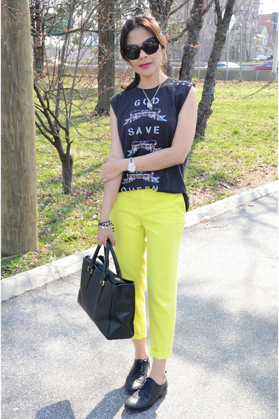 black Ivanka Trump bag - yellow Forever 21 pants