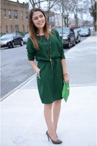 green Avon bag - olive green Zara dress - army green Maxx Studio heels