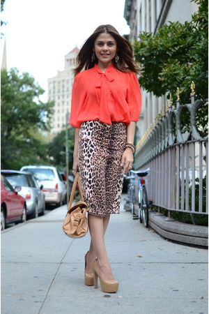 coral Forever 21 shirt - nude Bebe heels