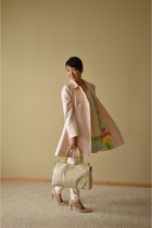 light pink Baker by Ted Baker coat - ivory coach purse - eggshell Express pants