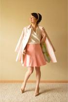 light pink ted baker coat - pink Zara skirt - ivory ann taylor blouse