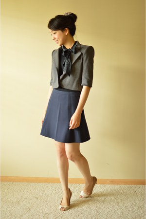 charcoal gray BCBG jacket - black banana republic top - navy J Crew skirt