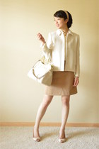 ivory Zara blazer - eggshell coach bag - tan Zara skirt - tan ann taylor heels