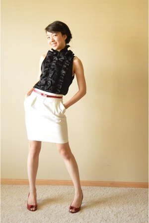 black Anthropologie blouse - ruby red ann taylor belt - white Zara skirt