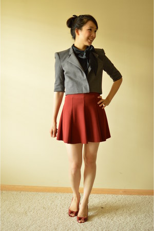 gray BCBG jacket - maroon Zara skirt - black banana republic top