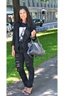 Black-helmut-lang-blazer-blue-balenciaga-bag-black-diesel-pants