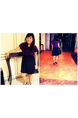 landmark dress - black sm department store bag - suede Greenhills heels