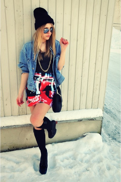 Luv Ya Clth skirt - Jeffrey Campbell boots - Mustang jacket - River Island top