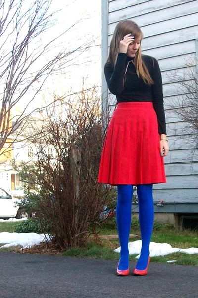 black sweater - red skirt - blue tights - orange shoes