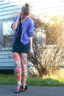 Blue-macys-dress-purple-thrift-cardigan-pink-h-m-tights-black-delias-shoes