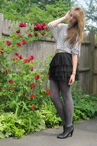 white H&M top - black Forever 21 skirt - black H&M boots
