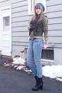 Purple-thrift-skirt-black-f21-boots-brown-hm-cardigan