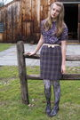 Purple-f21-shirt-purple-thrift-skirt-black-f21-tights-brown-2nd-hand-shoes