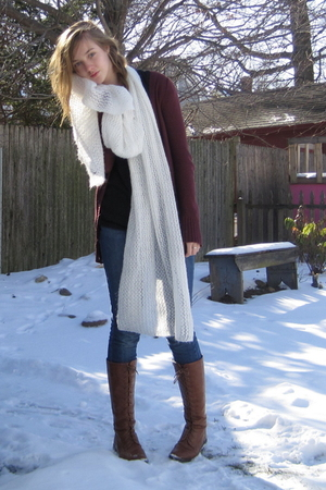 white H&amp;M scarf - red Target cardigan - brown f21 boots