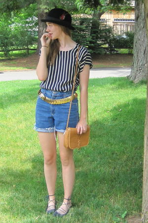 black Forever 21 shoes - black Target hat - blue cutoffs thrift shorts