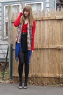 Red-random-sweater-blue-target-scarf-brown-ny-scarf-black-2nd-hand-skirt-