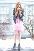 pink 2nd Hand dress - black doc marten Ebay boots - black delias jacket
