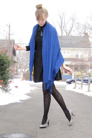 blue target scarf - gray h&amp;m shoes - black dress - black sweater