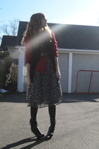 black f21 vest - red thrift cardigan - brown thrift belt - blue thrift dress - b
