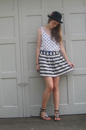 black Target hat - white f21 shirt - gray f21 skirt - blue thrift belt - black G