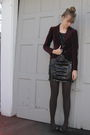 Red-thrift-blazer-black-thrift-dress-black-nine-west-shoes